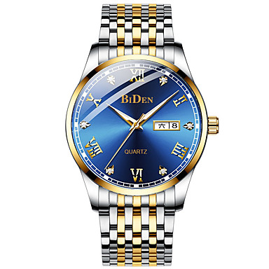 Недорогие Часы на кожаном ремешке-BIDEN Муж. Нарядные часы Кварцевый Формальный На каждый день С гравировкой Аналоговый Белый + небесно-голубой Белый + Gold Черный / Два года / Кожа