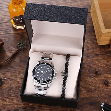 Недорогие Часы на металлическом ремешке-Муж. Нержавеющая сталь Кварцевый Современный Стильные Классика Крупный циферблат Аналоговый Черный Синий Красный
