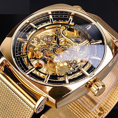 Недорогие Часы на металлическом ремешке-FORSINING Муж. Механические часы С автоподзаводом Старинный На каждый день С гравировкой Аналоговый Розовое Золото Чёрный / Серебряный Черный + Gloden / Два года / Нержавеющая сталь / Два года
