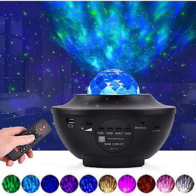 Недорогие Аудио и видео аксессуары-светодиодный проектор звездная галактика ночник проекция океанских волн с музыкальным динамиком bluetooth 8w led 10 цветов 21
