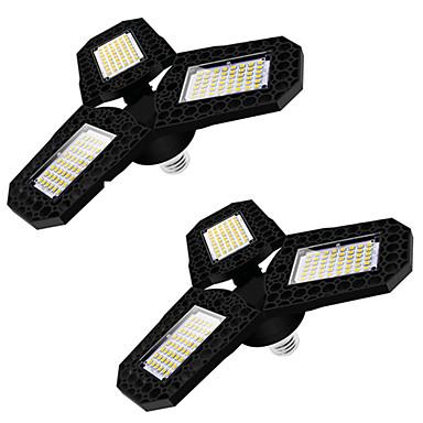 رخيصةأون LED وإضاءة-2 قطعة مصباح LED للجراج LED ثلاث أوراق مصباح سقف قابل للتشوه لورشة عمل المستودعات المنزلية 360 درجة مصباح تشوه قابل للطي قابل للتعديل لوحات متعددة المواضع AC85-265V