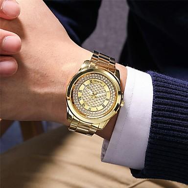 Недорогие Часы на металлическом ремешке-Муж. Нержавеющая сталь Кварцевый Современный Стильные Классика Секундомер Аналоговый Розовое Золото Золотой Серебряный / Титановый сплав