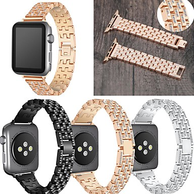 Недорогие Ремешки для Apple Watch-Ремешок для часов для Серия Apple Watch 5/4/3/2/1 Apple Классическая застежка / Дизайн украшения Нержавеющая сталь Повязка на запястье