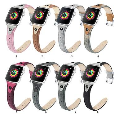 Недорогие Ремешки для Apple Watch-ремешок для часов apple watch series 5/4/3/2/1 apple классическая пряжка натуральная кожа / парусиновый ремешок на запястье