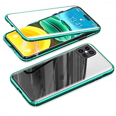 Недорогие Кейсы для iPhone-Кейс для Назначение Apple iPhone 12 / iPhone 12 Mini / iPhone 12 Pro Max Защита от пыли / Зеркальная поверхность / Ультратонкий Чехол Прозрачный Закаленное стекло / Металл