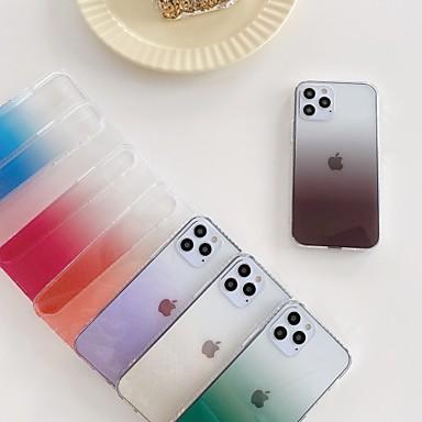 Недорогие Кейсы для iPhone-чехол для iphone 12/11 pro max / se2020 / xs max / xr xs 7/8 7/8 plus полупрозрачная задняя крышка цвет градиент тпу