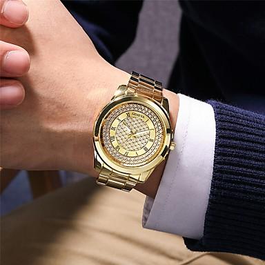 Недорогие Часы на металлическом ремешке-Муж. Нержавеющая сталь Кварцевый Старинный Современный Классика Секундомер Аналоговый Розовое Золото Золотой Серебряный / Титановый сплав