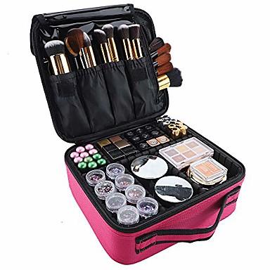 billige Reisevesker-sminketui reise kosmetisk veske 10,4 tommer profesjonell kosmetisk børste arrangørveske med justerbar skilleveske for jente og kvinner (rose rød)