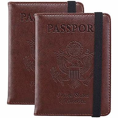 povoljno Putne torbe-[2 pakiranja] poklopac držača putovnice novčanik RFID futrola za karticu s gumicom za žene (2 paketa smeđa)