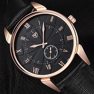 Недорогие Часы на кожаном ремешке-YAZOLE Муж. Нарядные часы Кварцевый Стильные На каждый день Крупный циферблат Аналоговый Белый + синий Черный Черный / коричневый / Один год / Кожа