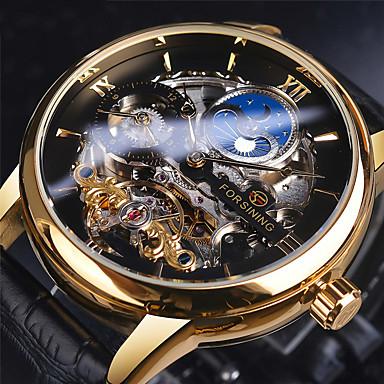 Недорогие Часы на кожаном ремешке-FORSINING Муж. Механические часы С автоподзаводом Старинный На каждый день Турбийон Аналоговый Черный Синий / Кожа / С гравировкой
