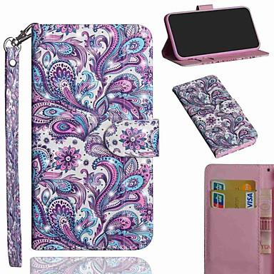 Недорогие Чехлы и кейсы для Sony-Кейс для Назначение Sony Sony Xperia L3 / Xperia XZ2 / Xperia XA3 Кошелек / Бумажник для карт / со стендом Чехол Цветы Кожа PU / ТПУ