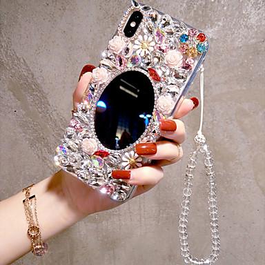 Недорогие Кейсы для iPhone-чехол для iphone 11 pro max / 11pro / 11 / iphone xs max / xr / xs / 6/7 / 8plus / se 2020 со стразами / зеркальная задняя крышка геометрический узор / цветок акрил ручной работы роскошные женские