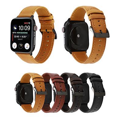 Недорогие Ремешки для Apple Watch-Ремешок для часов для Apple Watch Series 6 / SE / 5/4 44 мм / Apple Watch Series 6 / SE / 5/4 40 мм / Apple Watch Series 3/2/1 38 мм Apple Классическая застежка Натуральная кожа Повязка на запястье