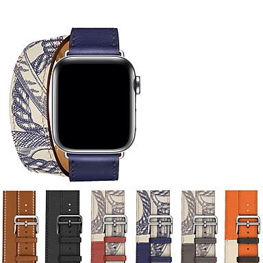Недорогие Ремешки для Apple Watch-Ремешок для часов для Apple Watch Series 6 / SE / 5/4 44 мм / Apple Watch Series 6 / SE / 5/4 40 мм Apple Классическая застежка Натуральная кожа Повязка на запястье