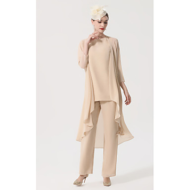 hesapli Gelin Annesi Elbiseleri-pantolon / tulum gelinin annesi elbise zarif artı boyutu kayık yaka taban uzunluğu şifon kolsuz ile kanat / kurdele aplikler 2020 damat elbiseler annesi