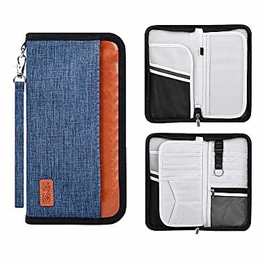 levne Cestovní tašky-rodinný cestovní pas držák přenosná peněženka rfid blokující doklady organizér se zipem (černý)