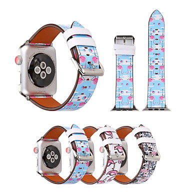 baratos Pulseira para Apple Watch-Pulseiras de Relógio para Apple Watch Series 5/4/3/2/1 Apple Fecho Clássico Couro PU Acolchoado Tira de Pulso