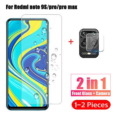 billige Skærmbeskyttelse til Xiaomi-1-2stk 2 i 1 kameraobjektiv hærdet glas til xiaomi redmi note 9 pro max / note 9s skærmbeskyttelsesfilm til redmi note 9 pro glas