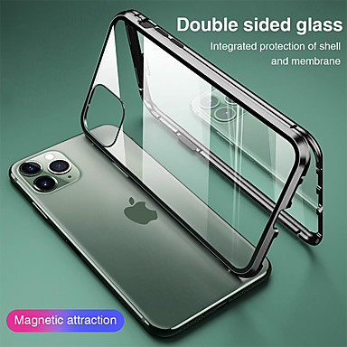 cheap iPhone Cases-Magnetic Case for iPhone 11 XR SE2020 Double sided Glass 360 Protection Clear Protective Case Metal Magnet Adsorption Mobile Phone Case for iPhone 11 Pro Max XSMax XS X 8 Plus 7 Plus