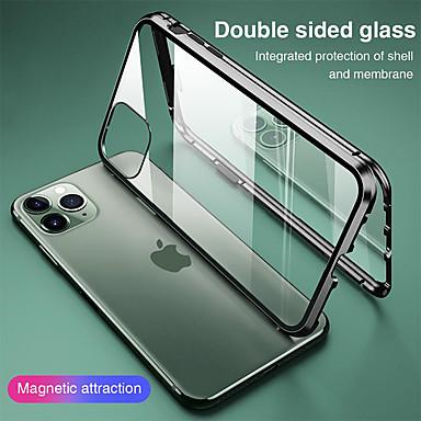 Недорогие Кейсы для iPhone-магнитный чехол для apple iphone 11 iphone xr двухстороннее стекло 360 защита прозрачный защитный чехол металлический магнит адсорбционный чехол для мобильного телефона для iphone se2020 11pro max xsm