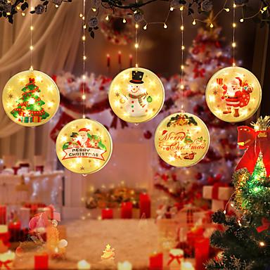 رخيصةأون LED وإضاءة-عيد الميلاد سانتا كلوز الأيل جرس led الجنية سلسلة ضوء مجموعة كاملة led ضوء زخرفة ثلج عيد الميلاد الدافئة الأبيض الديكور للمنزل العام الجديد حزب الستار الديكور الإضاءة usb الطاقة