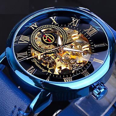 Недорогие Часы на кожаном ремешке-FORSINING Муж. Механические часы С автоподзаводом Старинный Классика С гравировкой Кожа Синий Аналоговый - Синий Два года Срок службы батареи