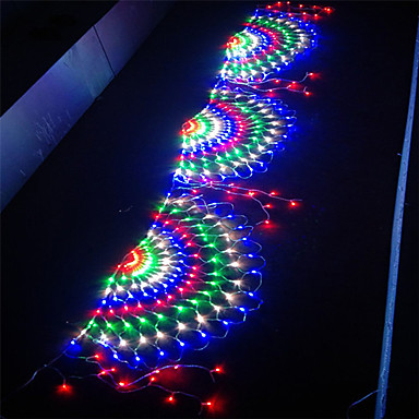 رخيصةأون أضواء شريط LED-3.5 متر 3 الطاووس شبكة صافي الصمام سلسلة أضواء ديكور السنة الجديدة عيد الميلاد مرنة صافي سلسلة الإضاءة الملونة للخارجية ساحة الحديقة شجرة ديكور مصباح عطلة ضوء AC110V 220V IP65 الاتحاد الأوروبي