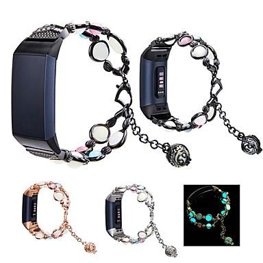 Недорогие Аксессуары для смарт-часов-для fitbit charge 3 4 умный браслет, светящиеся бусины, ремешок для часов из нержавеющей стали, петля для fitbit charge 3 4, браслет