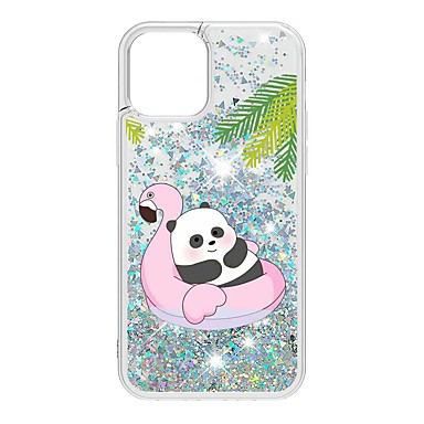 cheap iPhone Cases-Case For Apple iPhone 12 / iPhone 12 Mini / iPhone 12 Pro Max Flowing Liquid / Pattern / Glitter Shine Back Cover Animal / Panda TPU