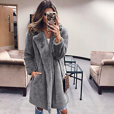 cheap Women's Outerwear-Women's Teddy Coat Long Solid Colored Daily Black Camel Dark Gray S M L