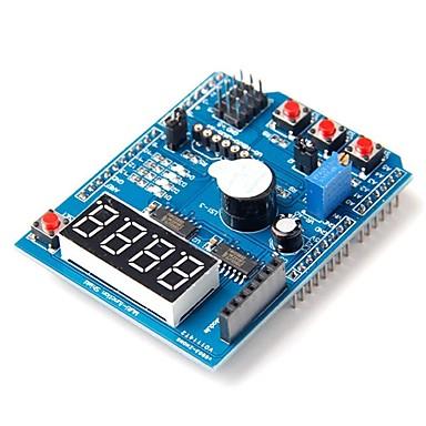 voordelige Arduino-accessoires-multifunctionele schild uitbreidingskaart module met 4 digitale display led indicator zoemer voor arduino leren board module
