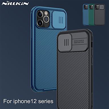 Недорогие Кейсы для iPhone-чехол nillkin для iphone 12 / iphone 12 pro max / iphone 12 pro / 12 mini противоударный / ультратонкий / матовые линии задней крышки / волны / однотонный тпу / ПК / защита от скольжения камеры /