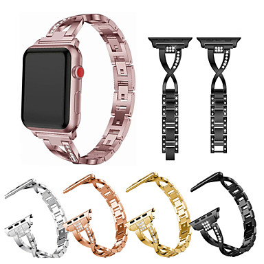 baratos Acessórios Para Celular-pulseira de pulseira de metal para série de relógios apple se 6 5 4 40mm 44mm pulseira de strass para séries de relógios iwatch 1 2 3 acessórios de pulseira de pulseira de 42mm 38mm
