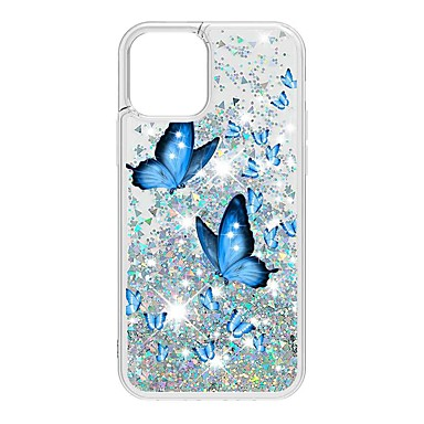 cheap iPhone Cases-Case For Apple iPhone 12 / iPhone 12 Mini / iPhone 12 Pro Max Flowing Liquid / Pattern / Glitter Shine Back Cover Butterfly TPU