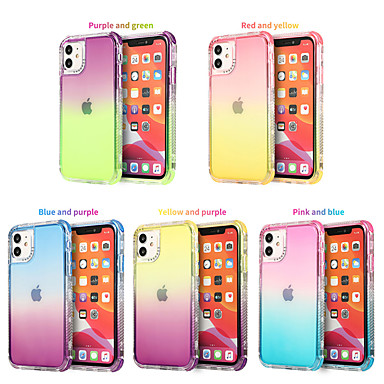 Недорогие Кейсы для iPhone-Кейс для Назначение Apple iPhone 12 / iPhone 12 Mini / iPhone 12 Pro Max Полупрозрачный Кейс на заднюю панель Градиент цвета ТПУ