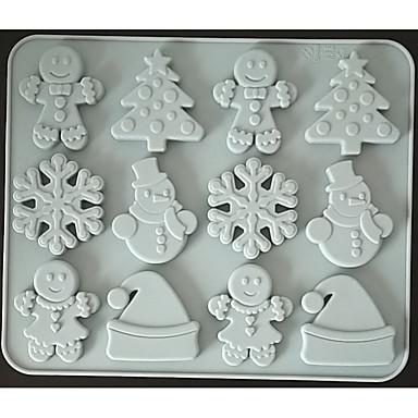 Χαμηλού Κόστους Εργαλεία και γκάτζετ ψησίματος-μελόψωμο άνθρωπος νιφάδα χιονιού χριστουγεννιάτικη μέρα σοκολάτα καλούπι σιλικόνης μπισκότο καραμέλα συμπλήρωμα διατροφής καφετί ζάχαρη μούχλα κέικ