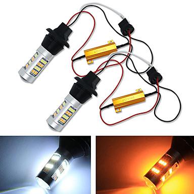 Недорогие Огни для авто-2 шт. Для автомобильного освещения 1156 высокомощная двухцветная светодиодная лампа с переключателем p21w s25 ba15s 2835 42led дневной ходовой указатель поворота