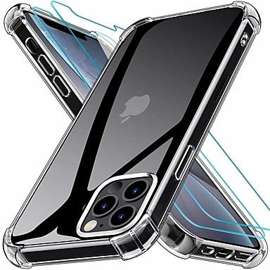 זול אביזרים לטלפונים ניידים-2 ב 1 כיסוי סיליקון רך שקוף רך tpu לאייפון 12 פרו מקסימום 12 מיני נרתיק&מגבר; מגן מסך זכוכית בטיחות לאייפון 11 פרו מקסימום 11 פרו se 2020 xs xs מקס xr 8 7 6 פלוס