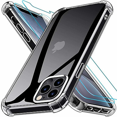 abordables Accesorios para teléfono móvil-2 en 1 funda de silicona tpu suave transparente delgada para iphone 12 pro max 12 mini funda&amperio; protector de pantalla vidrio de seguridad para iphone 11 pro max 11 pro se 2020 xs xs max xr 8