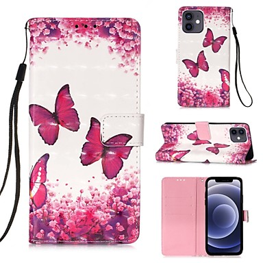 cheap iPhone Cases-Case For iPhone 12 / iPhone 12 Mini / iPhone 12 Pro / iPhone 12 Pro Max Card Holder Flip Magnetic Full Body Cases Butterfly Flower Case For iPhone 11 Pro Max / SE2020 / XS Max / XR XS 7 / 8 7 / 8 plus