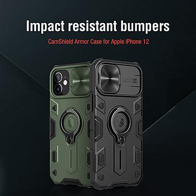 Недорогие Кейсы для iPhone-Кейс для Назначение Apple iPhone 12 / iPhone 12 Mini / iPhone 12 Pro Max Защита от удара / Кольца-держатели Кейс на заднюю панель Однотонный / броня ТПУ / ПК / Металл