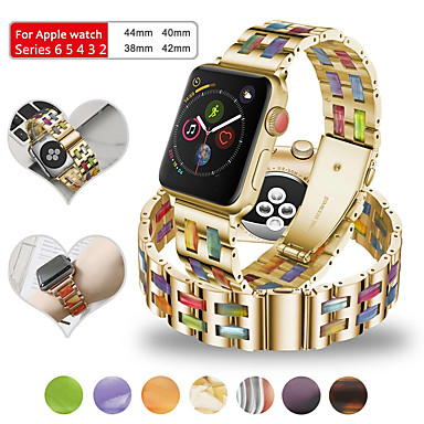 baratos Acessórios Para Celular-Pulseiras de Relógio para Apple Watch Series 6 / SE / 5/4 44 mm / Apple Watch Series 6 / SE / 5/4 40mm / Apple Watch Series 3/2/1 38 mm Apple Pulseira Esportiva Aço Inoxidável / Resina Tira de Pulso