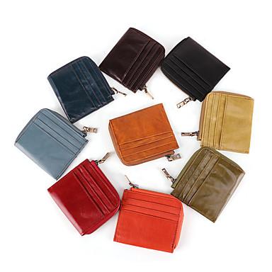 billige Rejsetasker-Rejsepung Dokumentarrangør Kortholder Anti-tyveri RFID-blokering Dagligdags Brug Sikkerhed ægte læder Klassisk Vintage Gave Til Herre Dame 10.5*9.5*2 cm