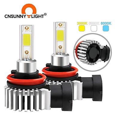 Недорогие Огни для авто-2шт cusunnylight h4 светодиодные автомобильные лампы для фар 6600lm авто 12v cob светодиодные фонари