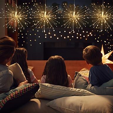رخيصةأون LED وإضاءة-480 LED أضواء الألعاب النارية LED الأسلاك النحاسية سلسلة أضواء النجوم 1 13 مفتاح تحكم عن بعد 2 قطعة 1 قطعة أبيض دافئ متعدد الألوان هالوين عيد الميلاد مقاوم للماء في الهواء الطلق ديكور USB بالطاقة