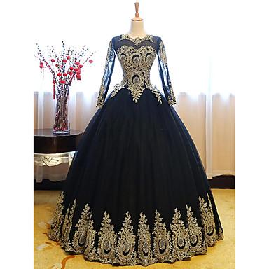 hesapli Balo Elbiseleri-Balo Abiyesi Lüks Vintage 15 Yaş Kutlaması Resmi Akşam Elbise Taşlı Yaka Uzun Kollu Yere Kadar Dantelalar Tül ile Aplik 2020