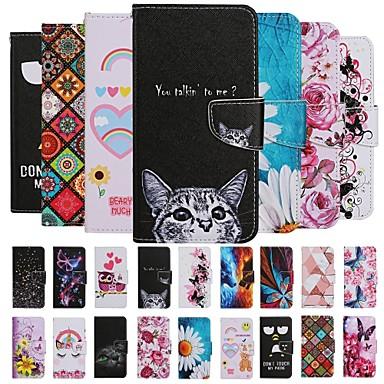 Недорогие Чехлы и кейсы для Huawei-Кейс для Назначение Huawei Huawei P30 / Huawei P30 Pro / Huawei P30 Lite Кошелек / Бумажник для карт / Защита от удара Чехол Животное / Мультипликация / Цветы Кожа PU / ТПУ