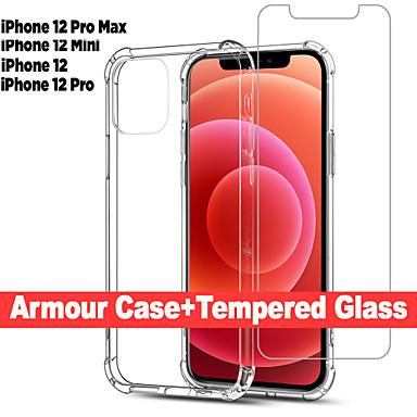 halpa Matkapuhelimen lisävarusteet-2 in 1 ohut kirkas pehmeä TPU-silikonikuori iPhone 12 Pro Max 12 -pienikotelolle&vahvistin; näytönsuojan turvalasi iphone 11 pro max 11 pro se 2020 xs xs max xr 8 7 6 plus: lle
