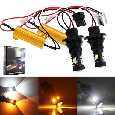 Недорогие Огни для авто-2шт 1156 p21w bau15s py21w 3156 p27w 7440 светодиодная лампа 16 светодиодов белый& янтарный двухцветный 1156 smd3030 обратный сигнал поворота